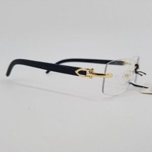 Buff Style Eye Glasses Black and Gold